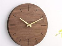 Minimalist-Round-Mid-Century-Modern-Wall-Clock-Rounf-Large-Hands-Gold