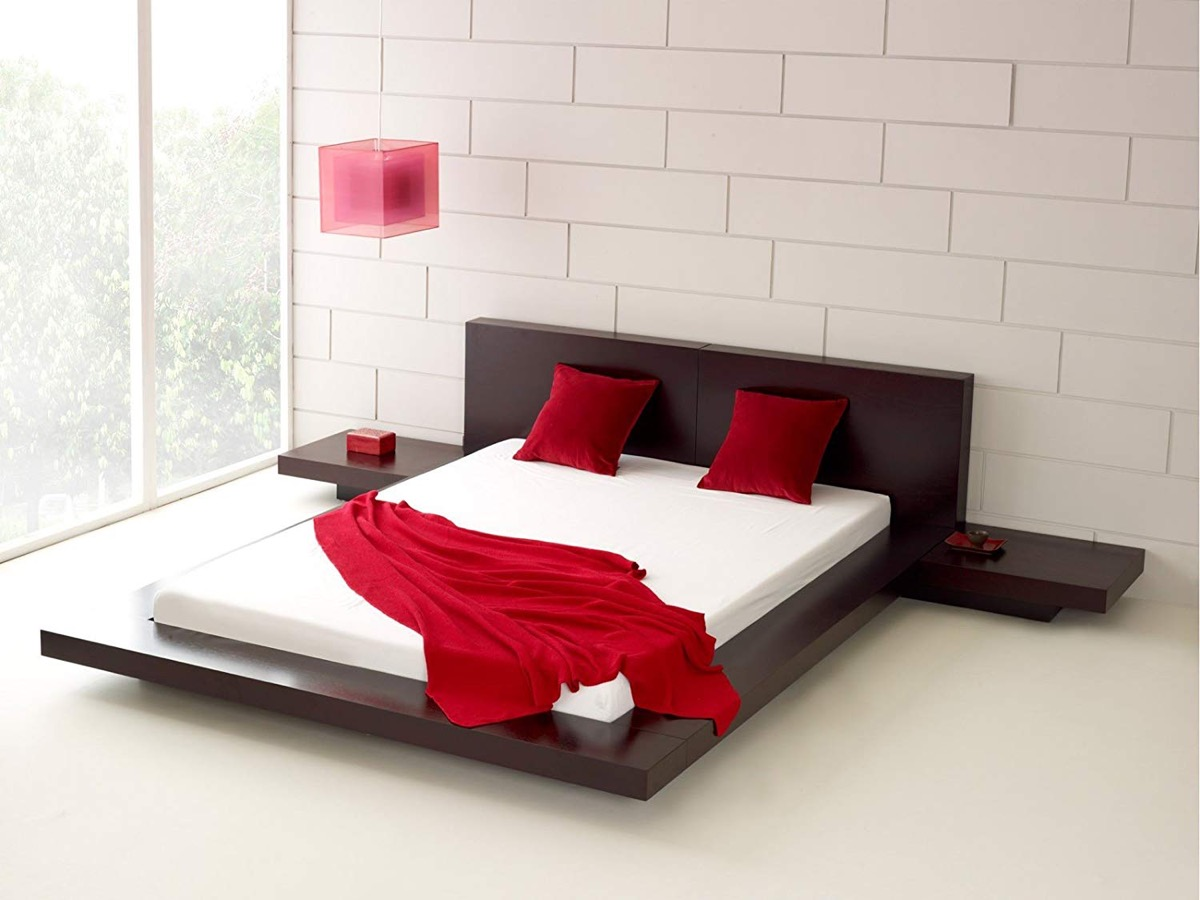 Modern-Espresso-Brown-Platform-Bed-With-Night-Stands-Built-In-Low-Bed-Frame