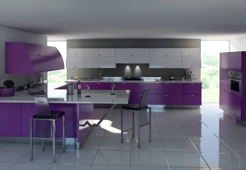 Modern-Gray-and-purple-kitchen-furniture