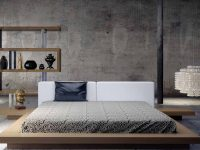 Modern-Japanese-Style-Platform-Bed-With-Night-Stands-Light-Wood-Finish-Oak
