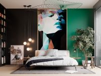 Modern-Luxury-Bedroom-With-Black-Wall-And-Geometric-Painting-1