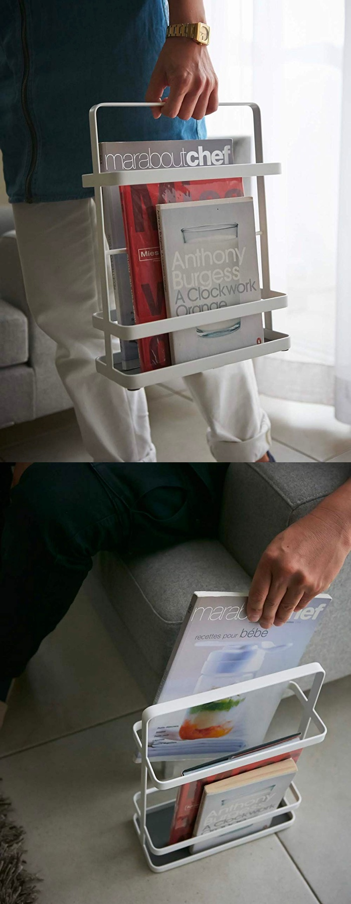 Modern-Minimalist-Magazine-Book-Storage-Stand-White-Metal-With-Handle-Portable
