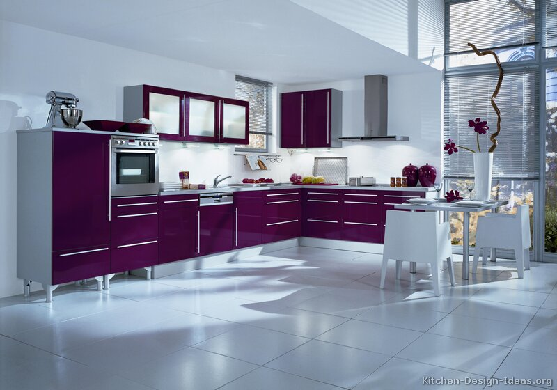 Modern-Purple-Kitchen-white-tile-flooring