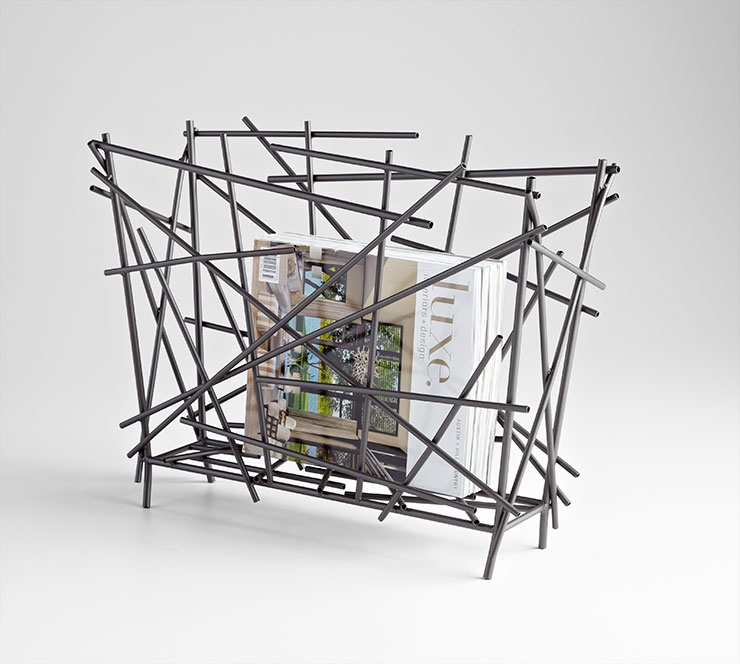 Modern-Sculptural-Magazine-Holder-Metal-Bronze-Finish-Floor-Rack