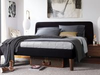 Modern-Upholstered-Bed-With-Black-Headboard-And-Wood-Legs-No-Boxpring-Platform-Bed