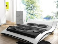 Modern-Upholstered-Queen-Platform-Bed-Black-And-White-Unique-Bed-With-Curve-Low
