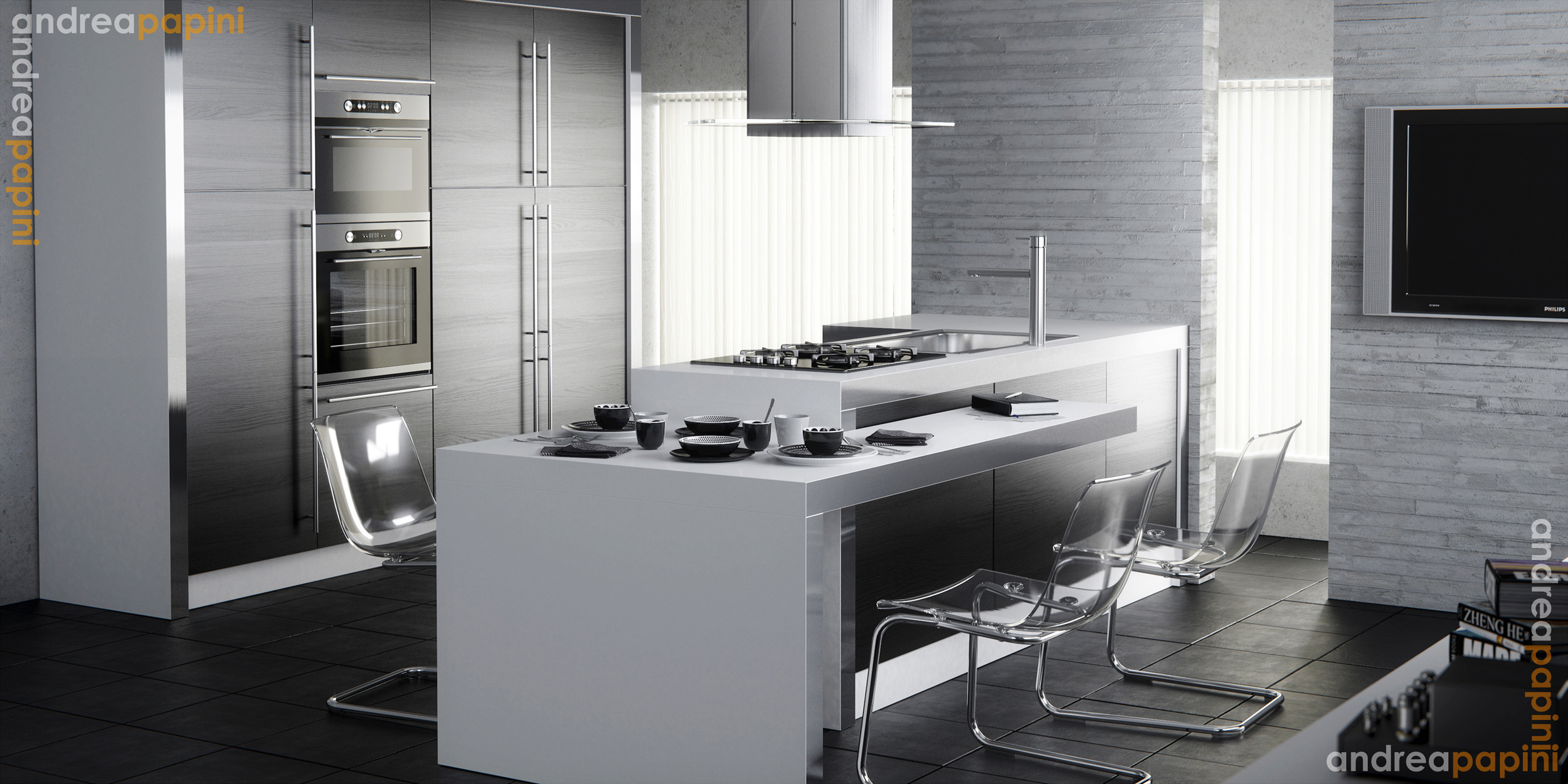 Modern-kitchen-white-brick-walls