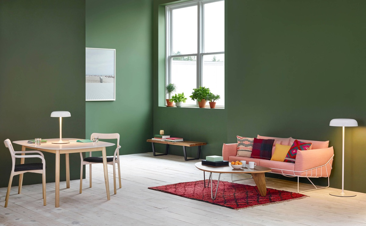 Moss-Green-Living-Room-with-Pink-Accent-Couch