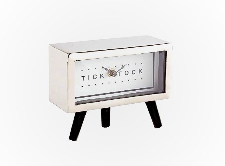 Nickel-Finish-Mid-Century-Desk-Clock-With-Tripod-Legs-Looks-Like-Vintage-TV-Set