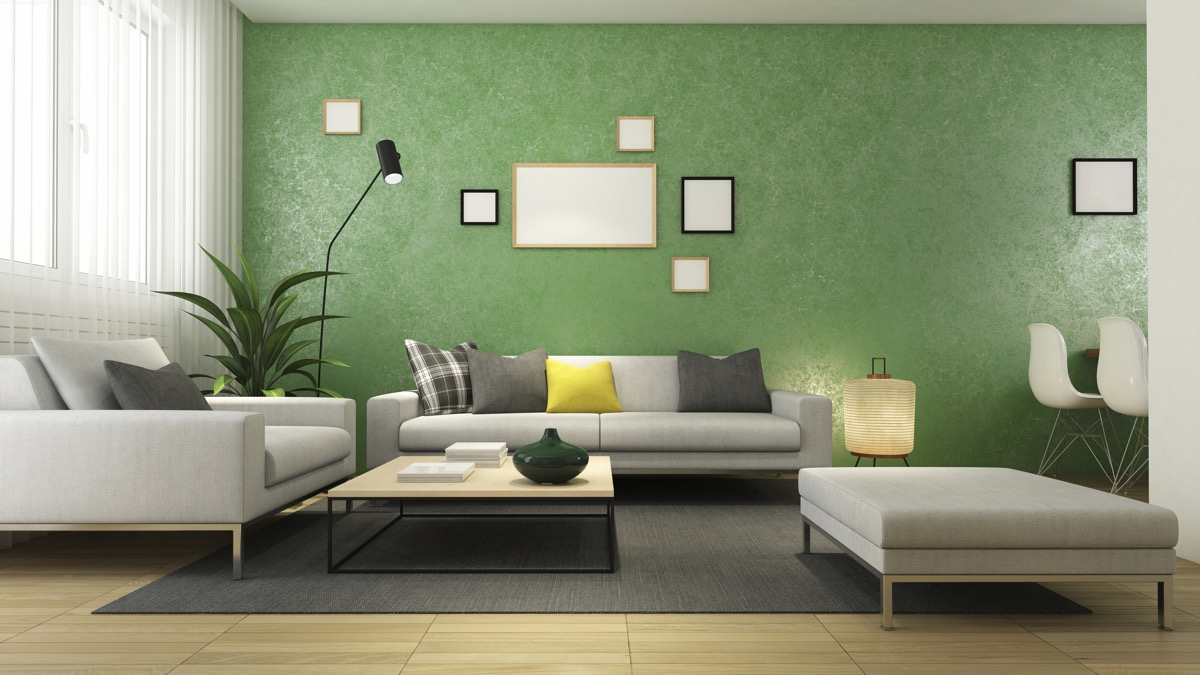 Olive-Green-Accent-Wall-in-Livingroom