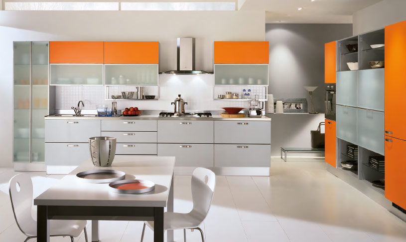 Orange-and-Grey-modern-kitchen