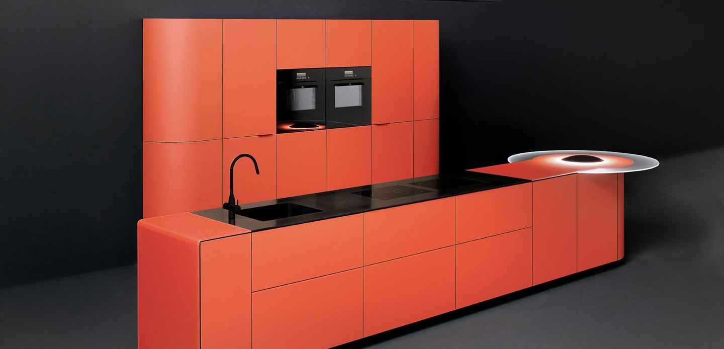 Orange-colored-curved-kitchen