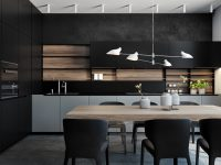 Pastels-kitchen-mint-green-central-panel-low-hanging-white-light-black-surrounds