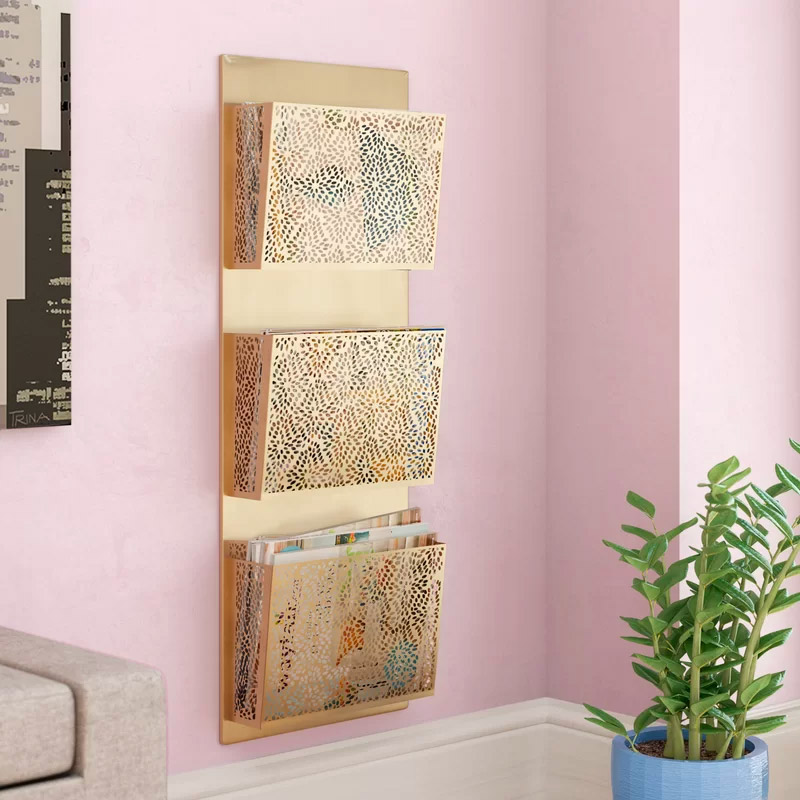 Perforated-Designed-Wall-Mounted-3-Pocket-Magazine-Rack-Gold-Moroccan-Office-Decor