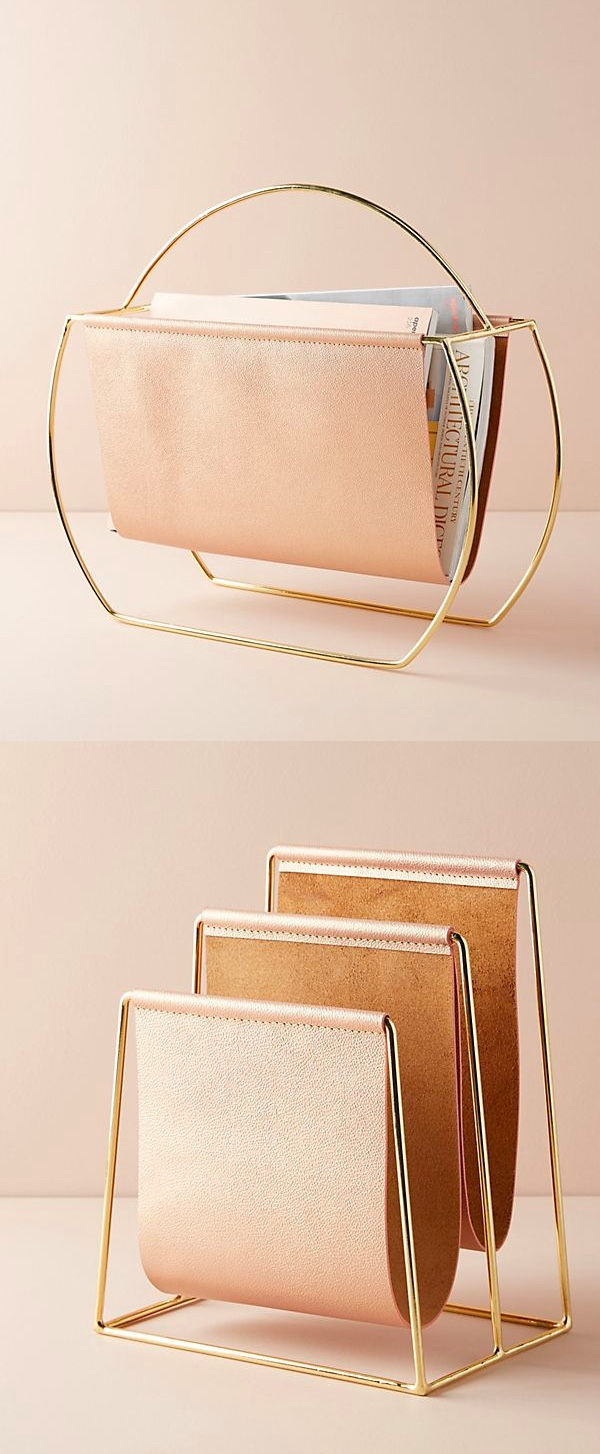 Pink-And-Gold-Leather-Magazine-Holder-Luxury-Office-Decor-Cheap