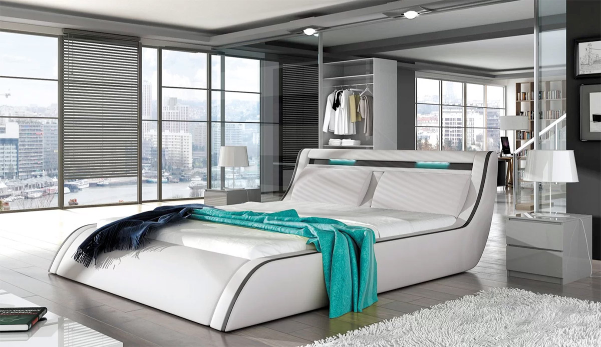 Platform-Bed-WIth-White-Headboard-LED-Lighting-Built-In-Futuristic-Contemporary