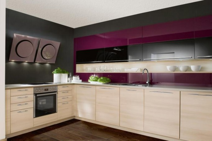 Purple-Gray-Kitchen-Natural-Wood-cabinets