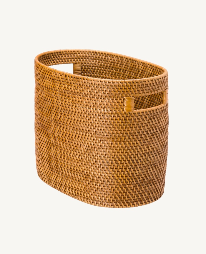 Rattan-Magazine-Holder-Weaved-Basket-Beach-Decor-Bohemian-Light-Brown-Honey