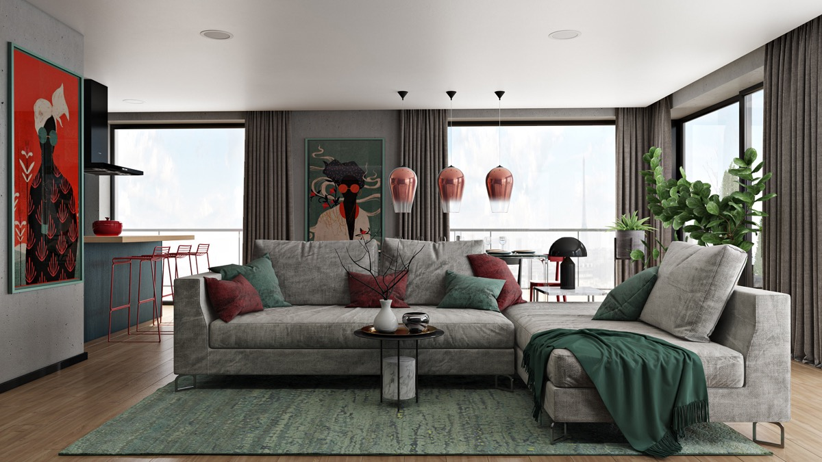 Red-and-green-living-room-1