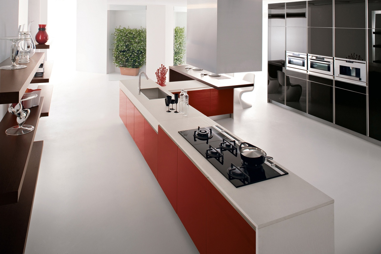 Red-kitchen-units-white-corian-worktop