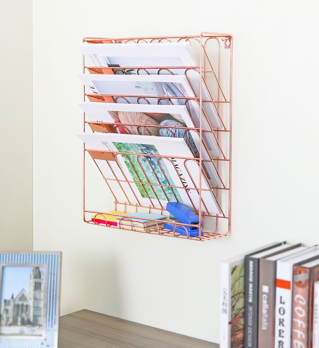 Rose-Gold-Wall-Mountable-Magazine-Holder-File-Organization-Ideas-For-Home-Office-Cheap