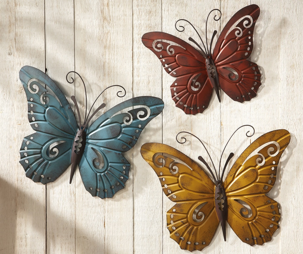 Rustic-Metal-Butterfly-Wall-Decor-Butterfly-Wall-Art-Red-Yellow-Blue-Butterfly-Wall-Art