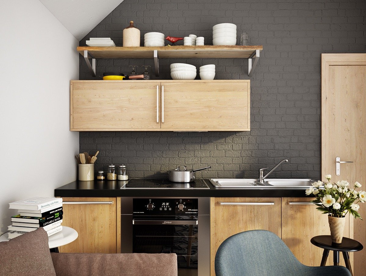 Scandinavian-dark-kitchen-light-wood-charcoal-feature-wall
