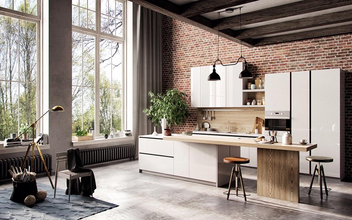 Scandinavian-kitchen-exposed-brick-wall-French-windows