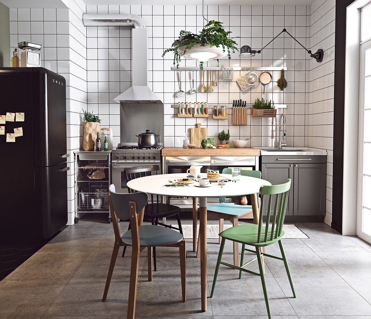 Scandinavian-kitchen-green-and-blue-chairs-black-and-white-tiles