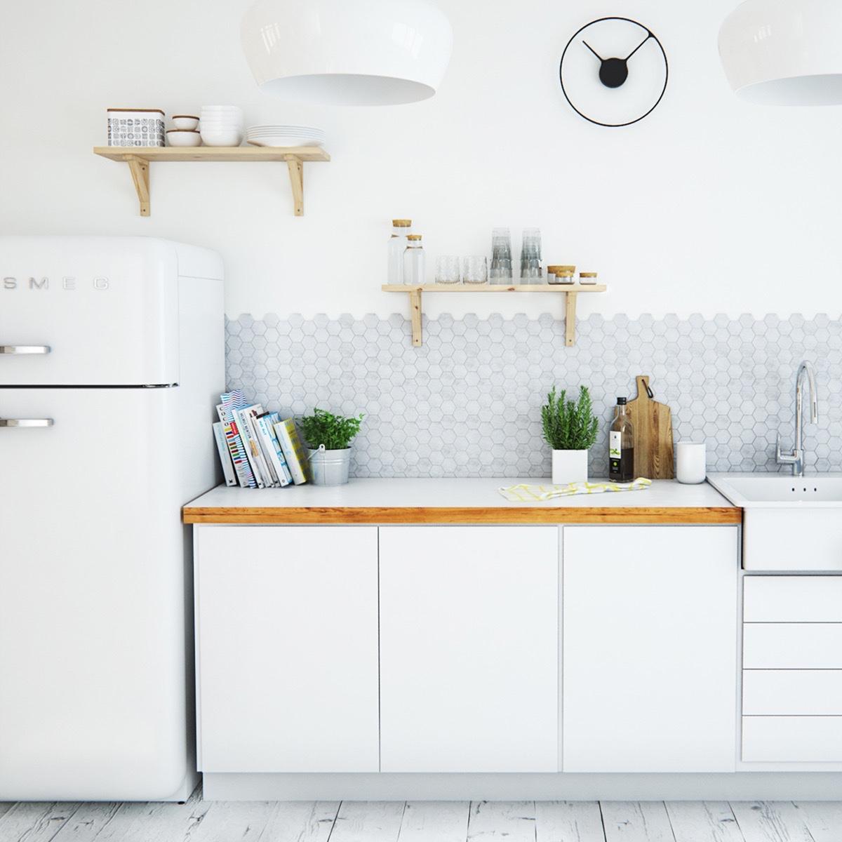 Scandinavian-kitchen-light-and-white-black-stencil-clock