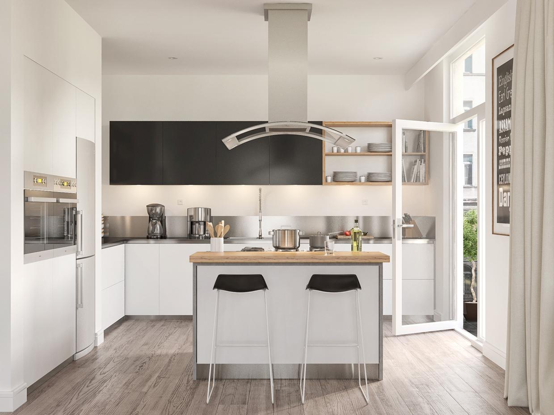 Scandinavian-kitchen-low-hanging-chrome-extractor-fan