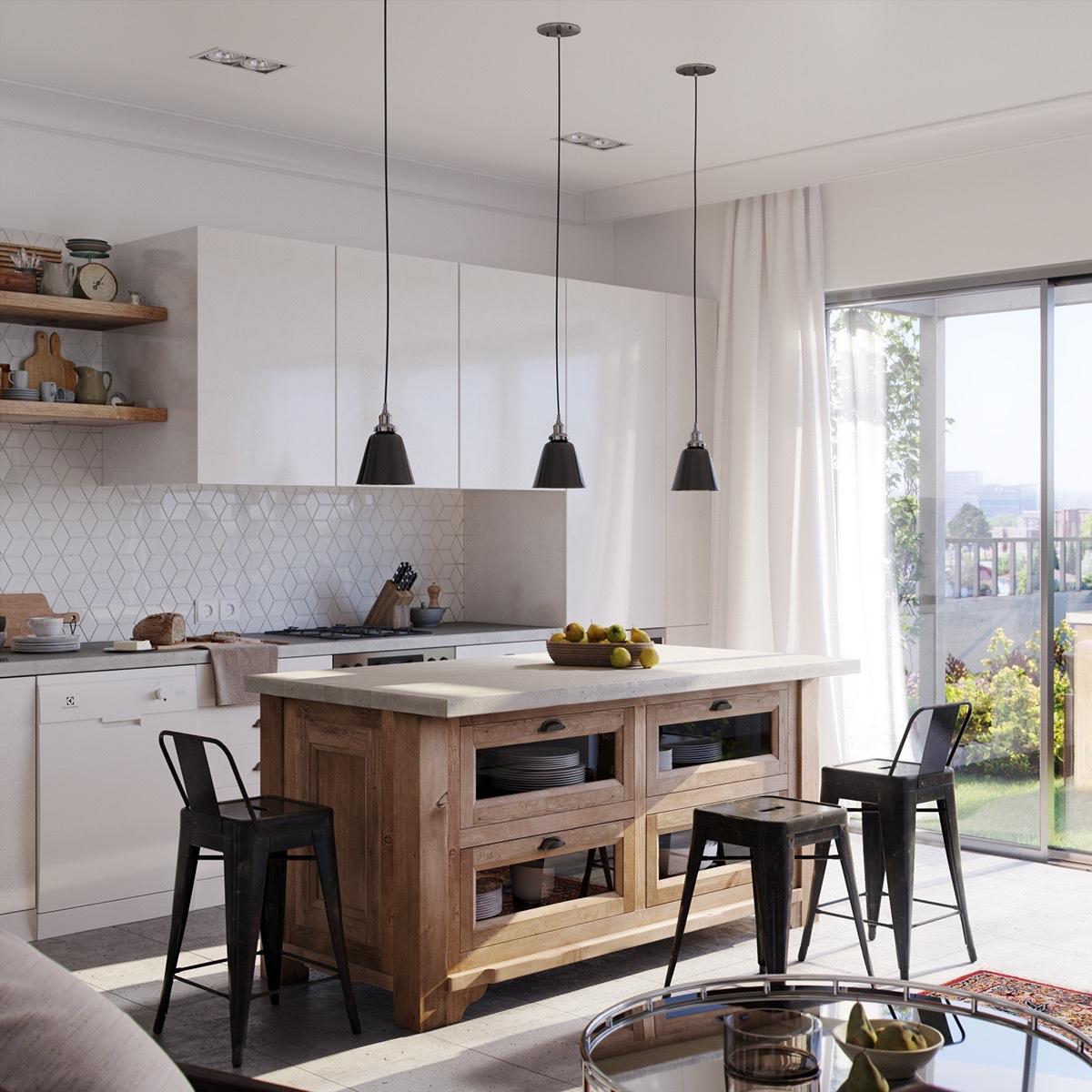 Scandinavian-kitchen-open-plan-black-low-hanging-lights