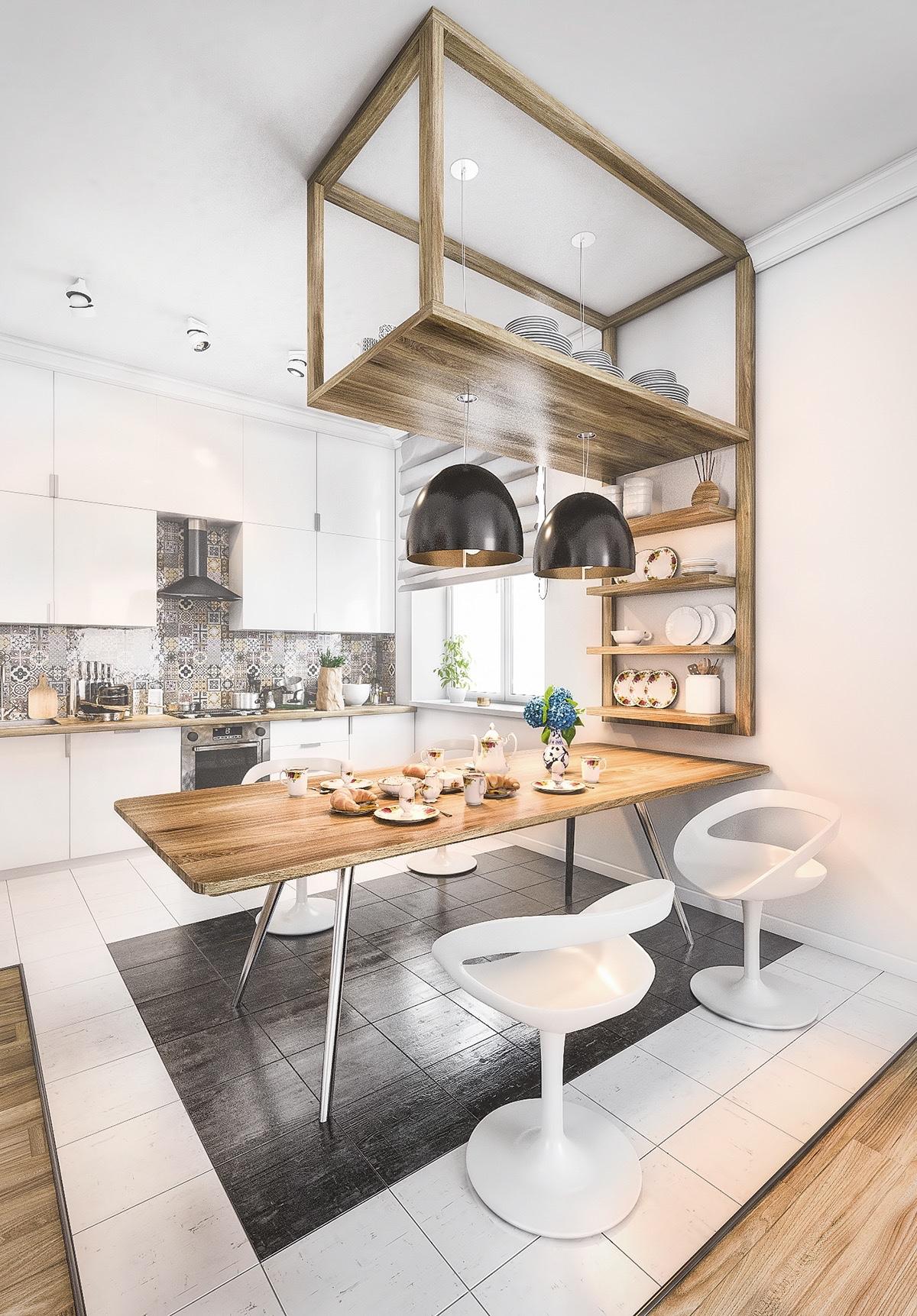 Scandinavian-kitchen-stencil-wooden-bench-frame