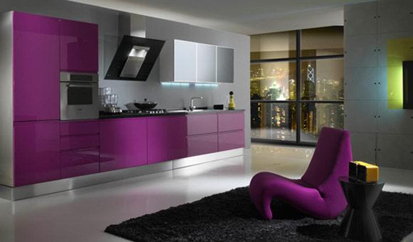 Seductive-fuschia-kitchen-cabinets-and-modern-design-1