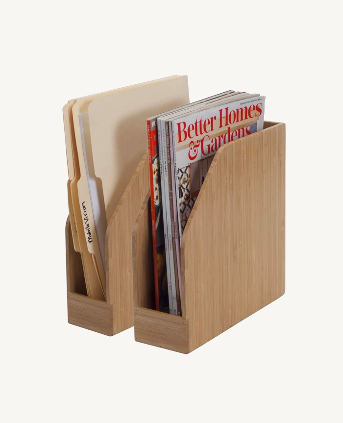Self-Standing-Wooden-Bamboo-Magazine-Holder-File-Rack-Wood-Office