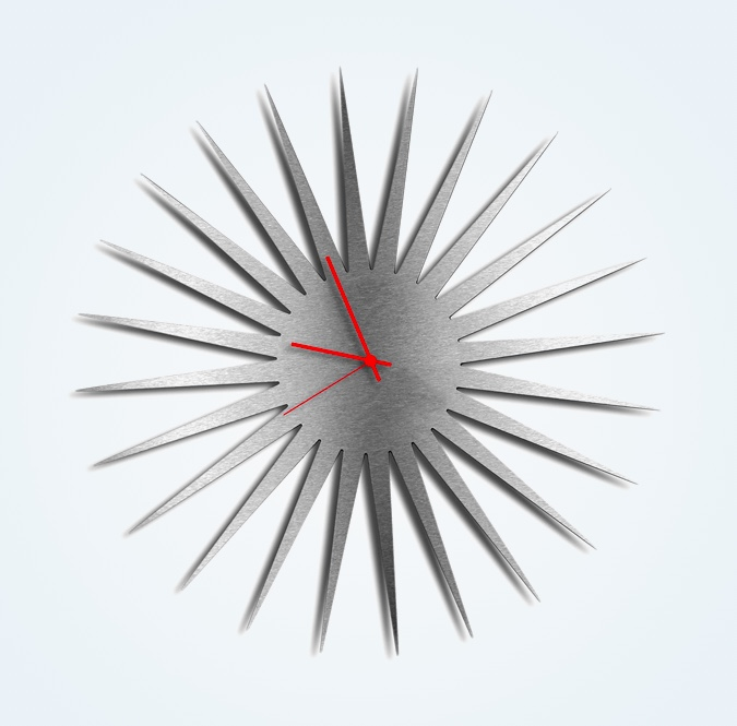 Silver-Brushed-Metal-Finish-Starburst-Clock-Wirh-Red-Hands-Edgy-Unique-Wall-Art