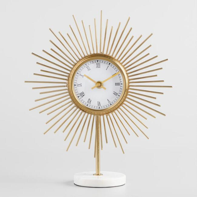 Small-Gold-Sunburst-Style-Desk-Clock-With-White-Marble-Base
