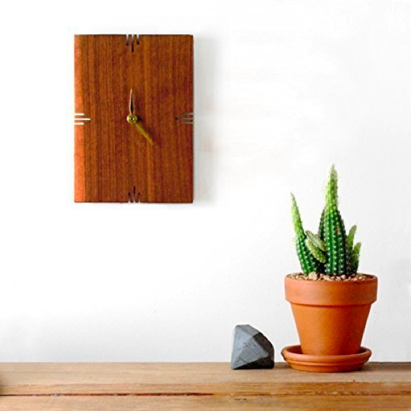 Small-Wooden-Mid-Century-Modern-Wall-Clock-Handmade-Carved