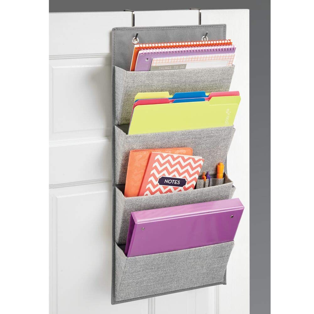 Soft-Fabric-Hanging-Magazine-Rack-Cheap-Office-Organizer-Grey-Multi-Pocket