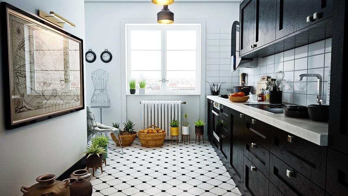 Spot-tiled-floor-black-cabinetry-Scandinavian-kitchen