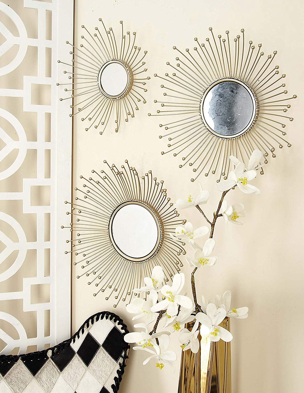 Sunburst-Style-Set-Of-3-Decorative-Wall-Mirrors-Mid-Century-Modern-Wall-Decor