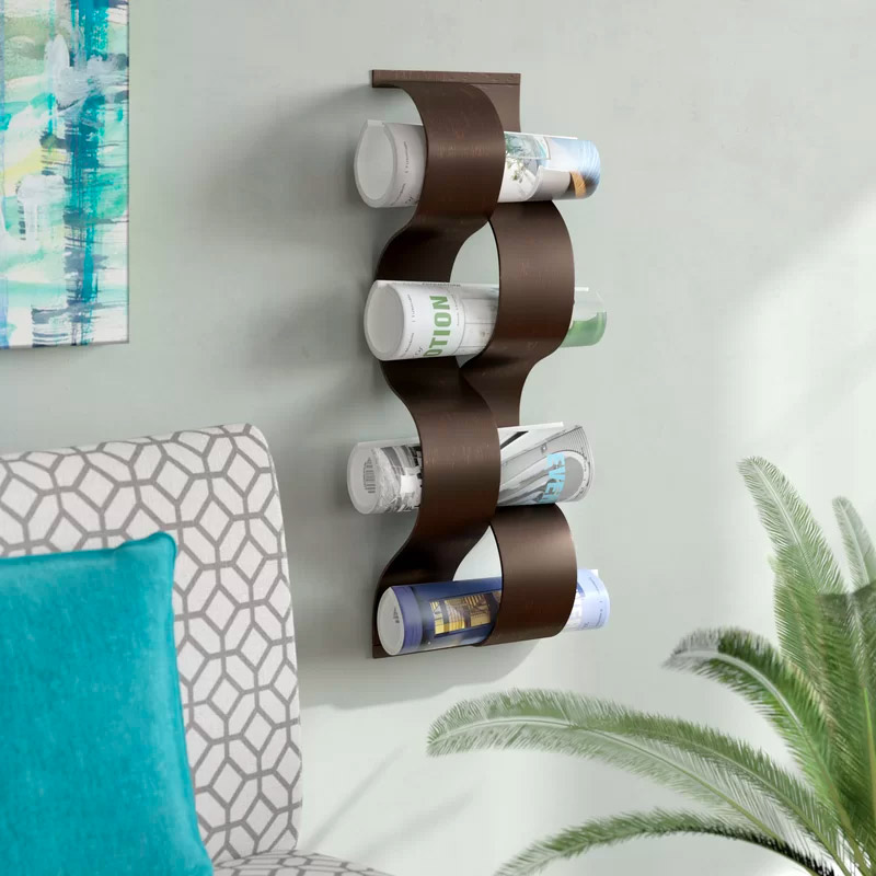 Wall-Mount-Magazine-Storage-Rack-For-Rolled-Magazines-Bronze-Mountable-Wall-Holder