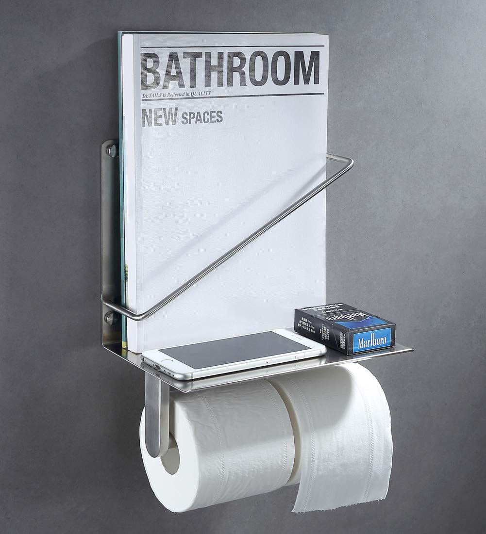 Wall-Mounted-Toilet-Paper-Holder-With-Magazine-Rack-Stainless-Steel-Small-Shelf