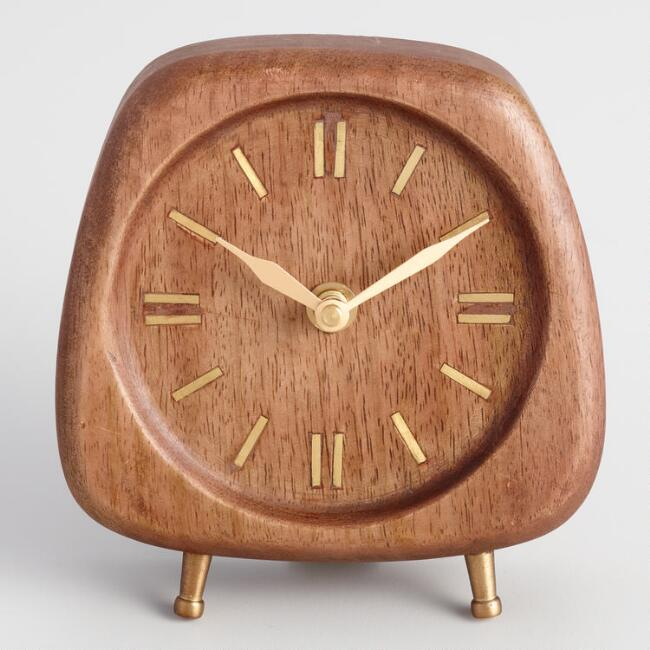 Walnut-Mid-Century-Modern-Desk-Clock-Small-Gold-Accents-Solid-Wood