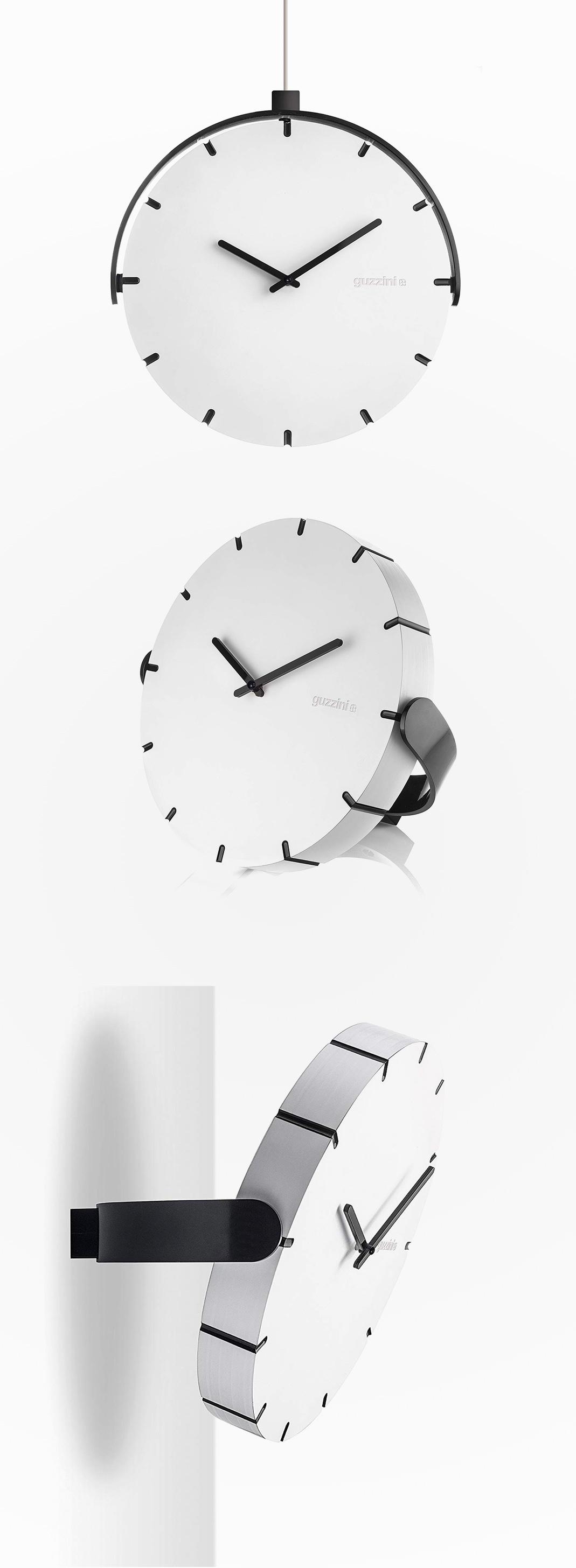 White-And-Black-Adjustable-Minimalist-Mid-Century-Modern-Clock