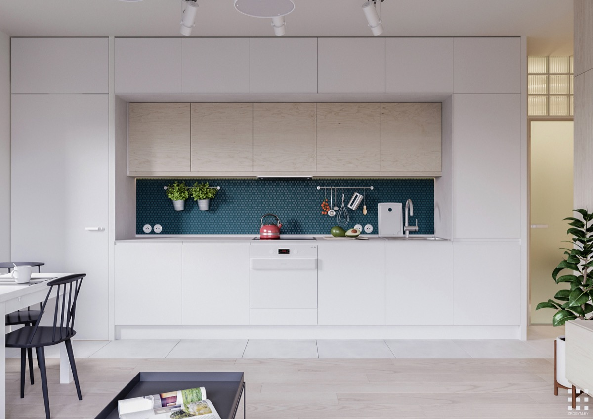 White-Built-In-Kitchen-Tile-and-Wood-Floor
