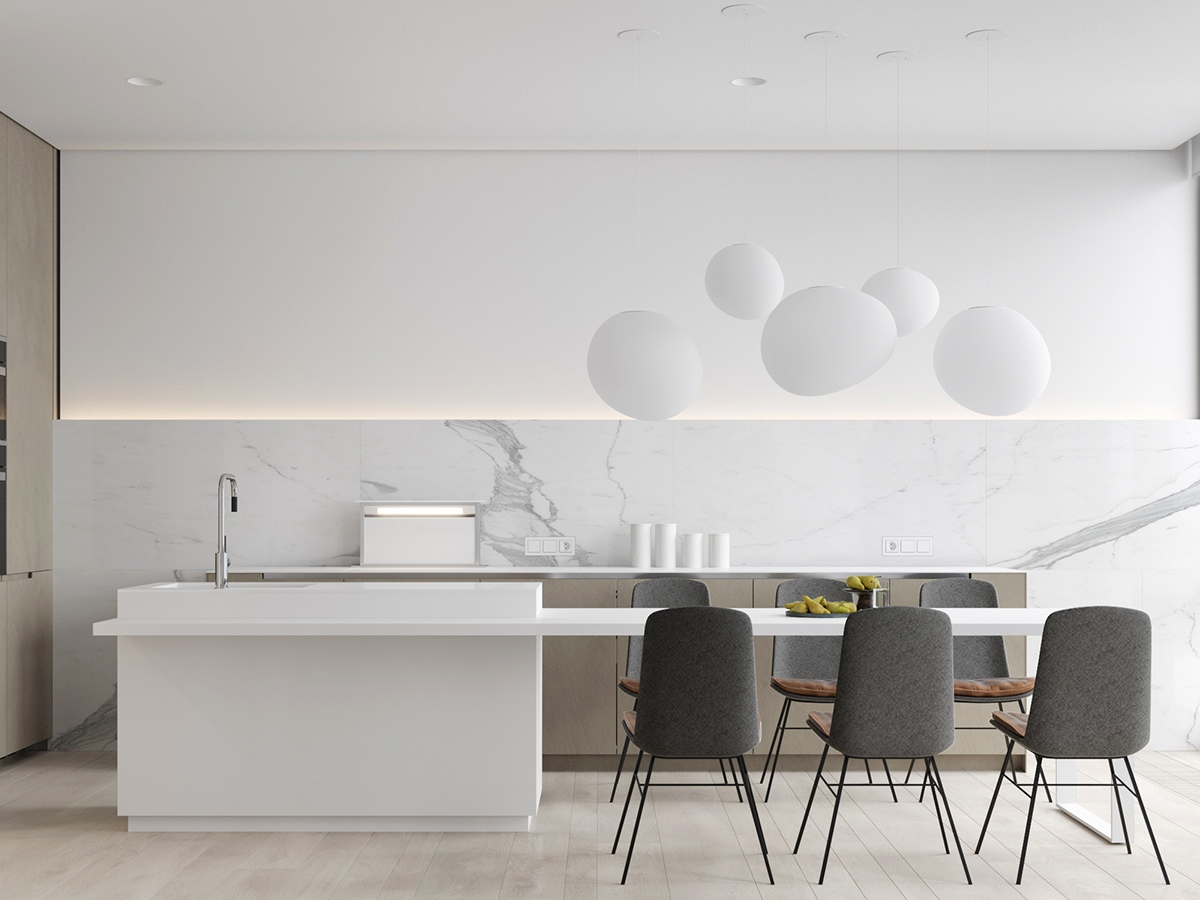 White-Contemporary-Kitchen-with-Marble