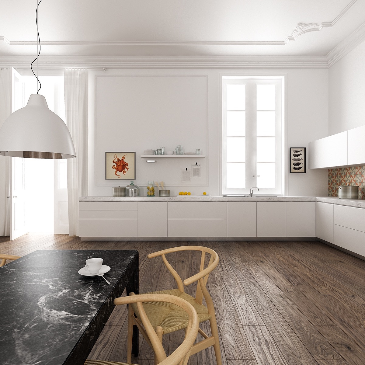 White-Kitchen-Marble-Counter-Rustic-Wood-Floors