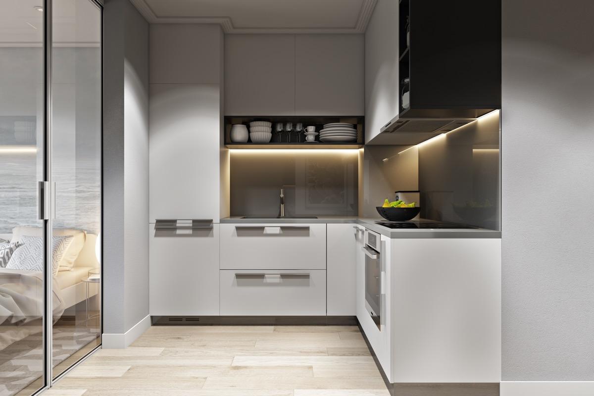 White-L-shaped-kitchen