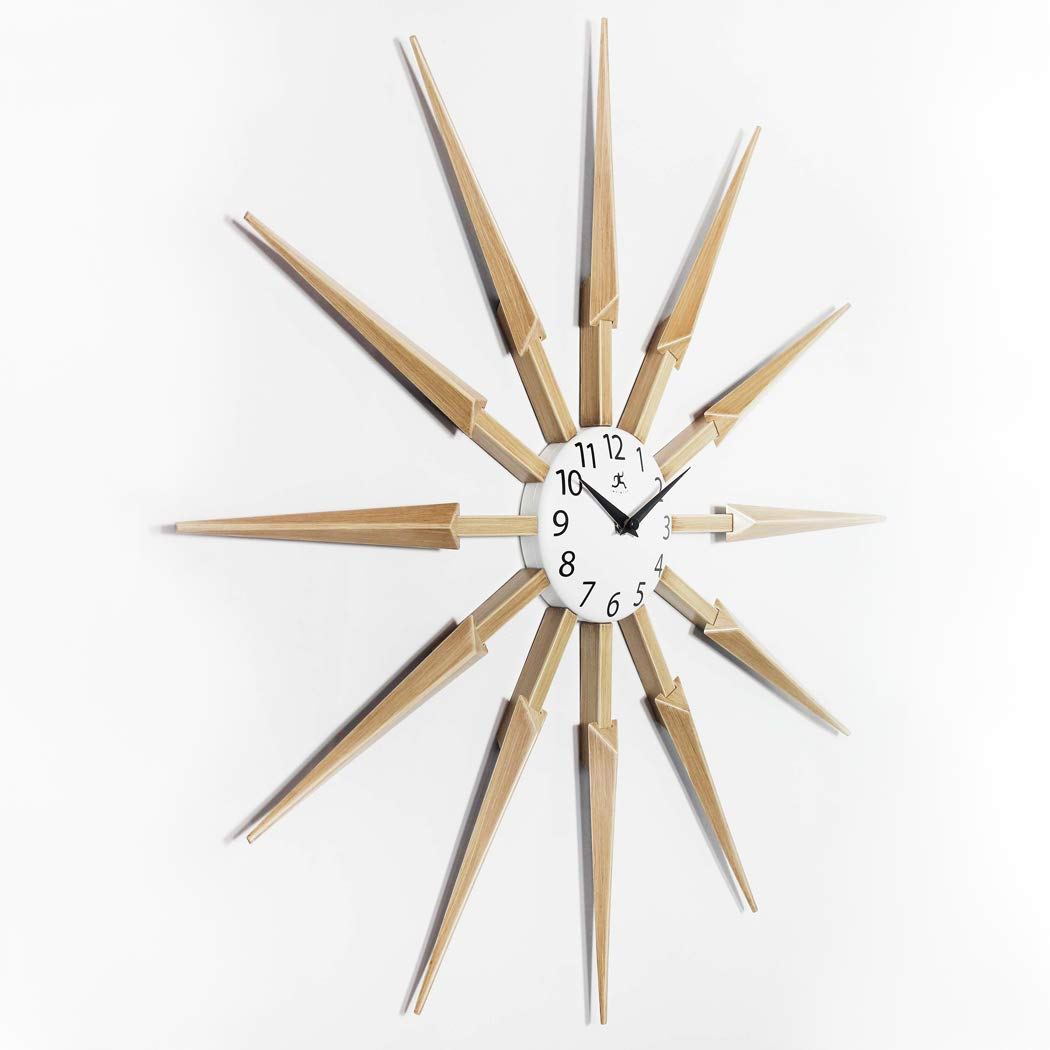 White-Mid-Century-Modern-Wall-Clock-With-Wooden-Spokes